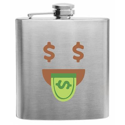 Emoji Money-Mouth Face Stainless Steel Hip Flask 6oz