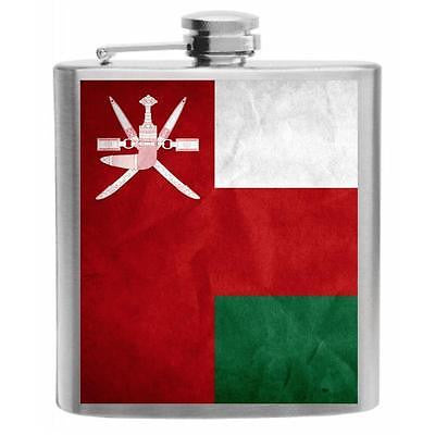 Oman Flag Stainless Steel Hip Flask 6oz