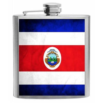 Costa Rica Flag Stainless Steel Hip Flask 6oz