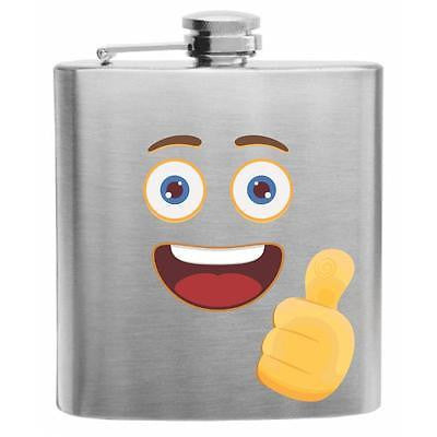 Emoji Smiling Face with Thumb Up Stainless Steel Hip Flask 6oz