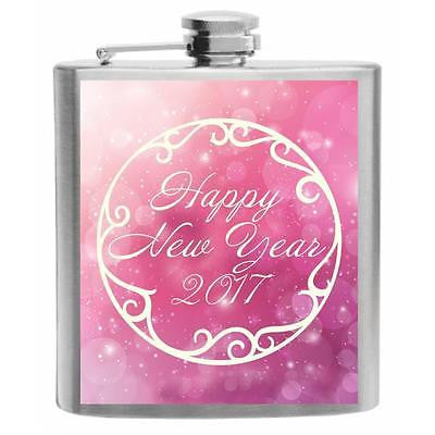 Happy New Year 2017 Sparkling Pink Stainless Steel Hip Flask 6oz