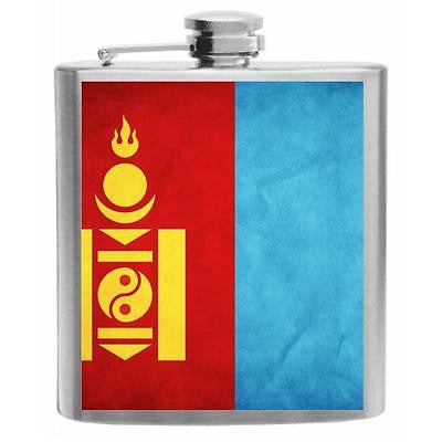 Mongolia Flag Stainless Steel Hip Flask 6oz