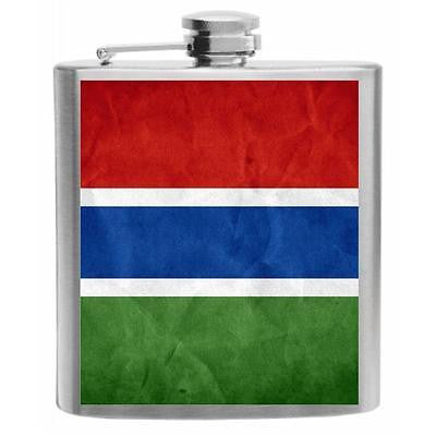 Gambia Flag Stainless Steel Hip Flask 6oz