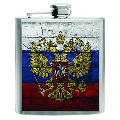 Russia Flag Stainless Steel Hip Flask 6oz