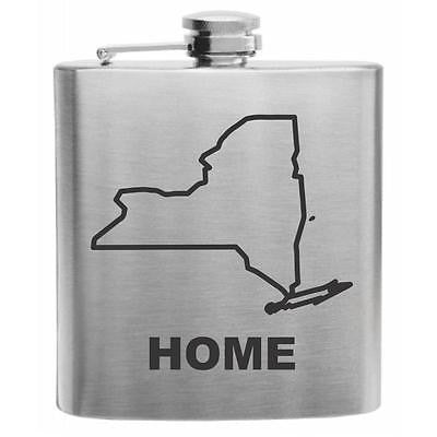 New York Home State Stainless Steel Hip Flask 6oz