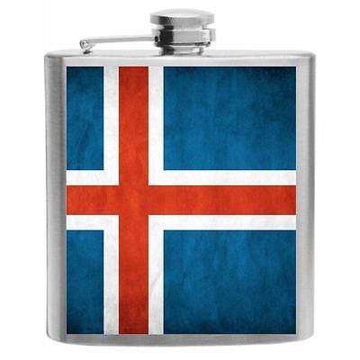 Iceland Flag Stainless Steel Hip Flask 6oz