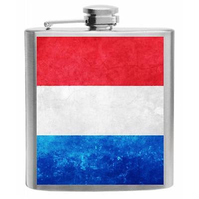 Luxembourg Flag Stainless Steel Hip Flask 6oz