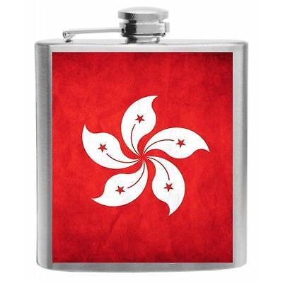 Hong Kong Flag Stainless Steel Hip Flask 6oz