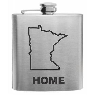 Minnesota Home State Stainless Steel Hip Flask 6oz
