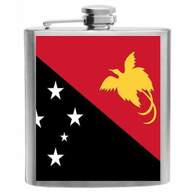 Papua New Guinea Flag Stainless Steel Hip Flask 6oz
