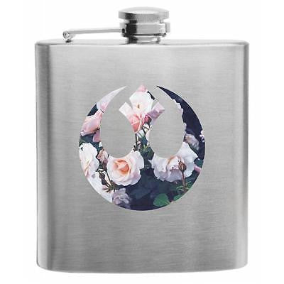 Floral Star Wars Republic Seal Stainless Steel Hip Flask 6oz