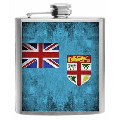 Fiji Flag Stainless Steel Hip Flask 6oz