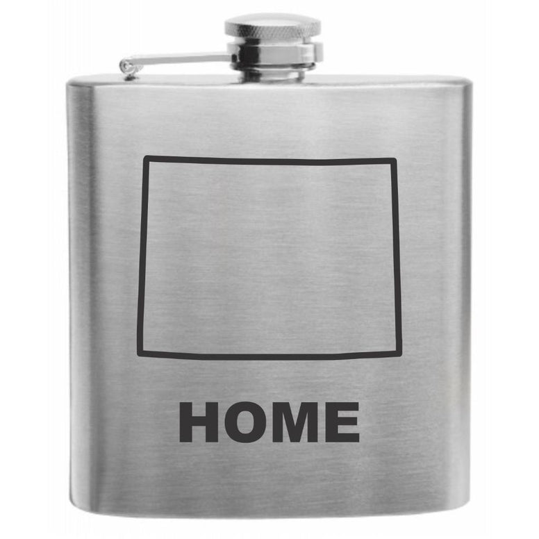 Wyoming Home State Stainless Steel Hip Flask 6oz