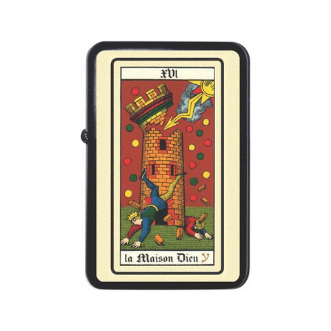 French Tarot Card The Tower Fire Z Plus 2 Vertigo Lighter