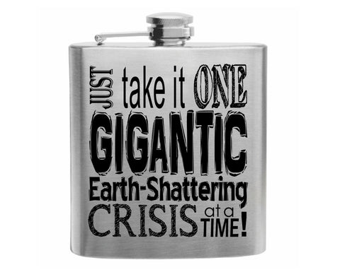 Crisis Stainless Steel Hip Flask 6oz