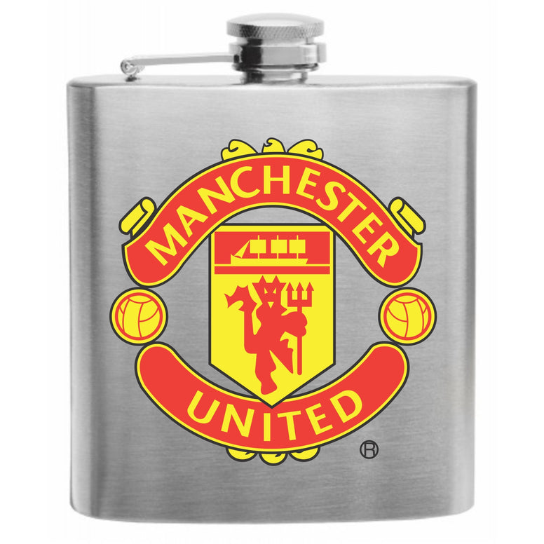 Manchester United Stainless Steel Hip Flask 6oz