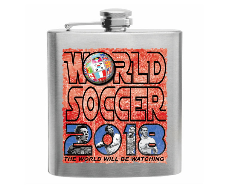 World Soccer 2018 Stainless Steel Hip Flask 6oz
