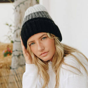 Color Block Knit Beanie