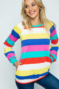 Rainbow color-blocked Top