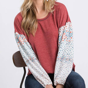 Casual Sweater Top With Floral Contrast