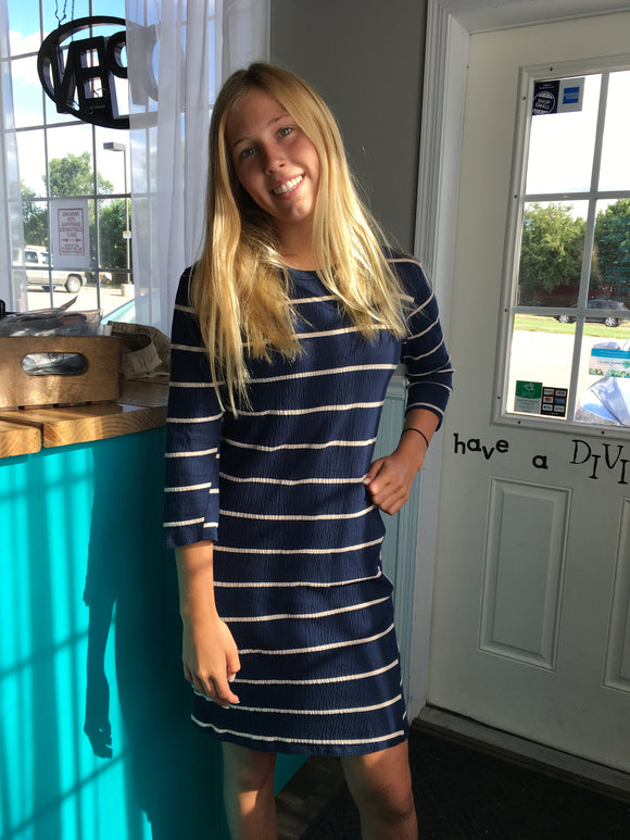 Sweet Claire Blue and Ta tripped dress Small