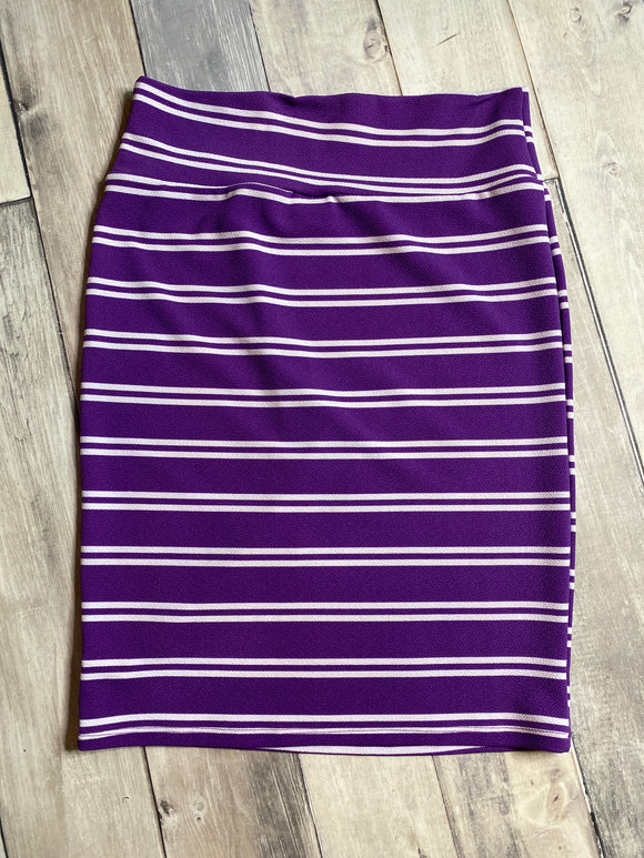 Lularoe Cassie Purple Stripe XL
