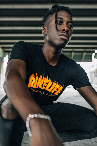 Black Bike Life T-Shirt lifestyle shot on MeekMill.com