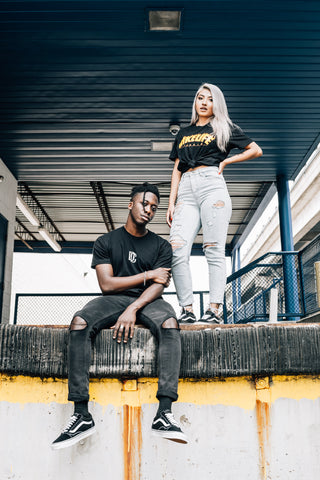 Man and Woman wearing black bike life t-shirts on MeekMill.com