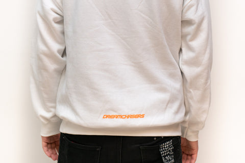 Back of white DCMX x Puma Dream sweatshirt with hood on MeekMill.com
