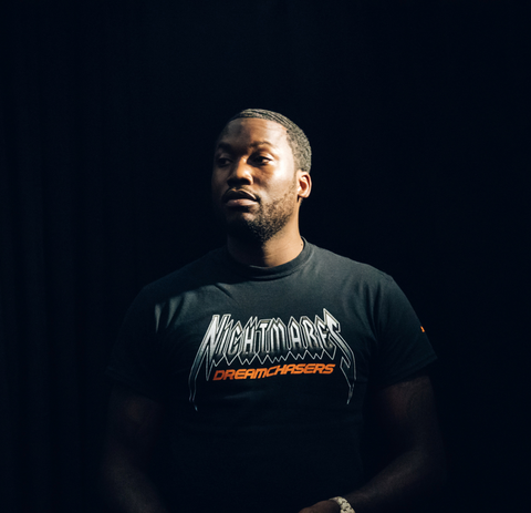 Meek Mill wearing black Nightmares T-Shirt collaboration with Puma