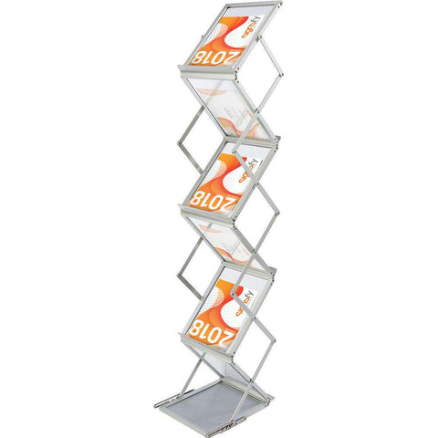 Expox BRO1 Brochure Stand | 2-Sided | 5 Shelves | Adjustable Height