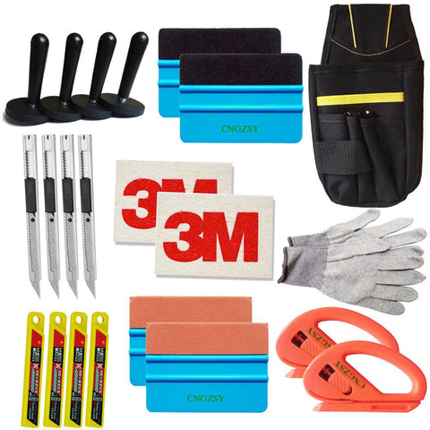 Standard Pro Tool kit Combo Car Vinyl Wrap Bag Squeegee Razor Glove 4 Magnet art knife blades 3M wool suede squeegee K27 - www.allprintheads.com