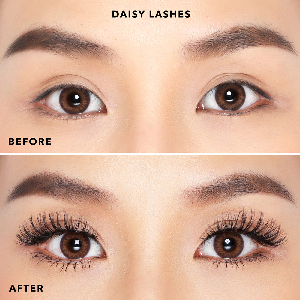 Close before and after eye shot of model wearing Petite Cosmetics Daisy Lashes from the Luxe Faux Mink Collection