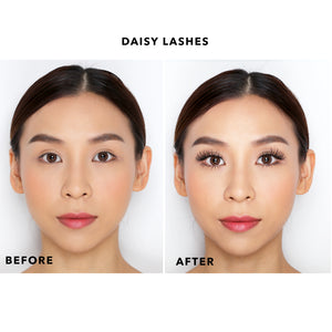 Before and after photo of model wearing Petite Cosmetics Daisy lashes from the Luxe Faux Mink Collection