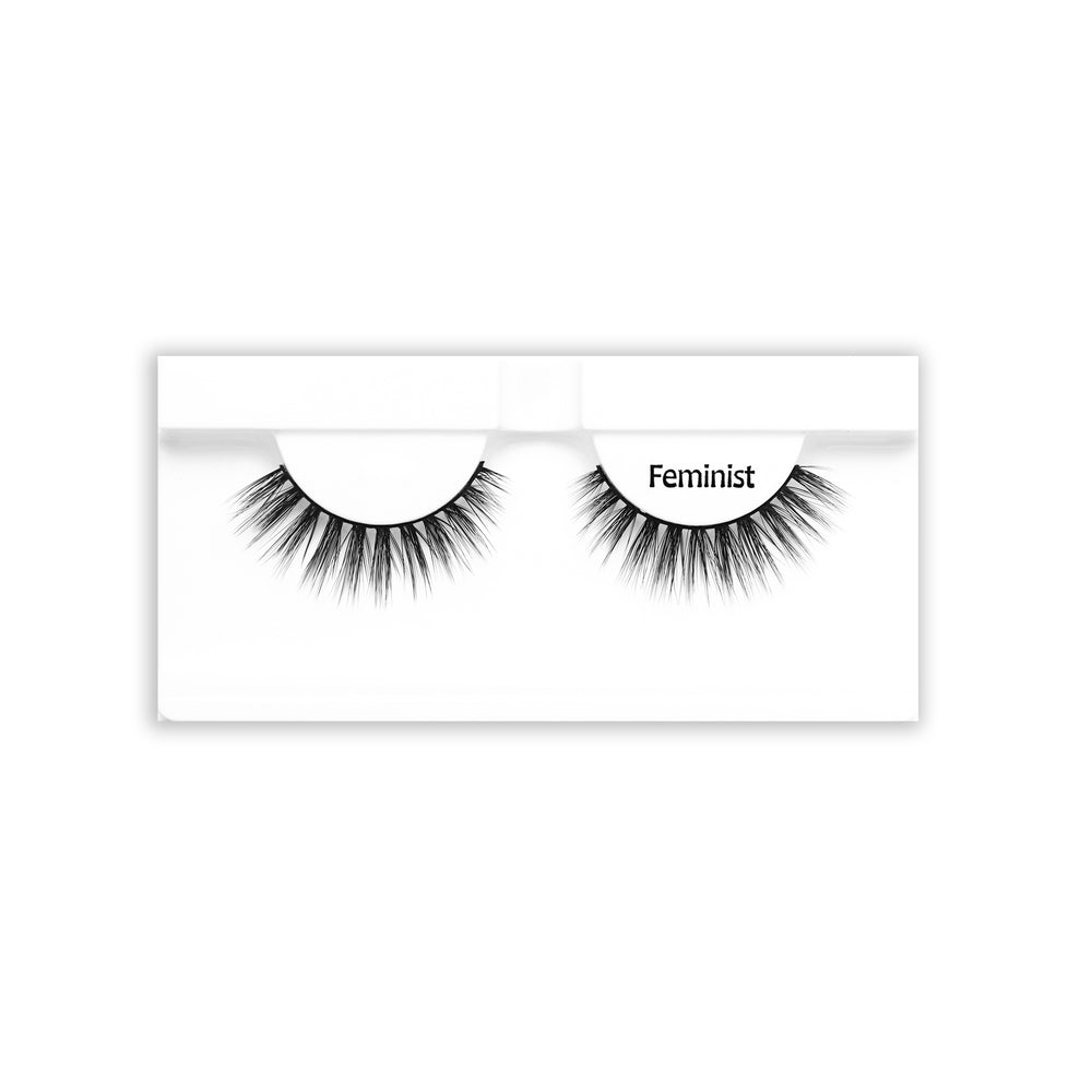 Petite Cosmetics Feminist false lashes product tray packaging