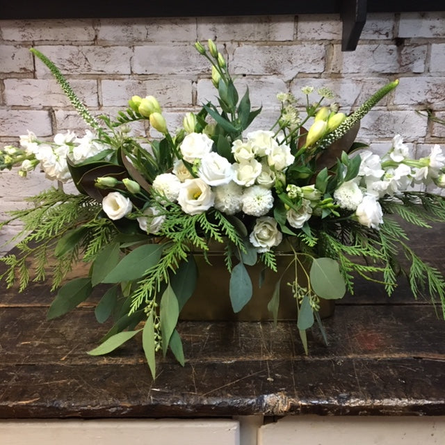 Small Elegant White Flowers & Greens Centrepiece