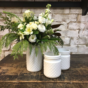 White Hobnail Vase with White Flowers & Greens - Small Vase