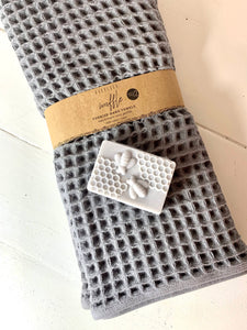 Turkish Cotton Waffle Hand Towels & Shea Butter Soap