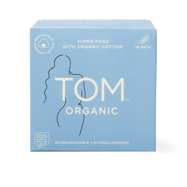 TOM Organic Super Pads Packaging Front