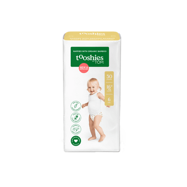 tooshies junior organic bamboo nappy size 6 pack of 30