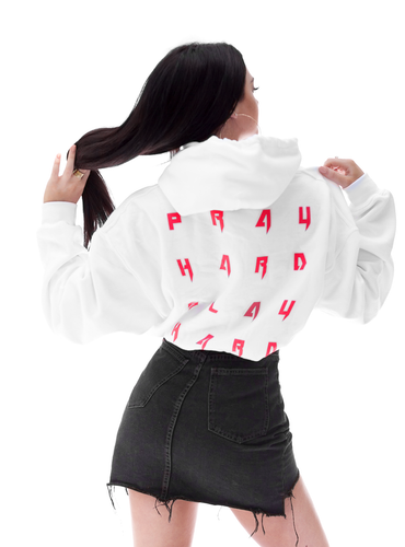 PRAY/SLAY White Hooded Sweatshirt