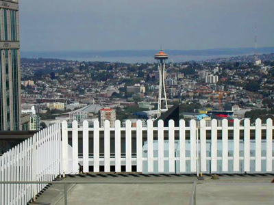 Space Needle picket fence Emerald City Fence Rentals