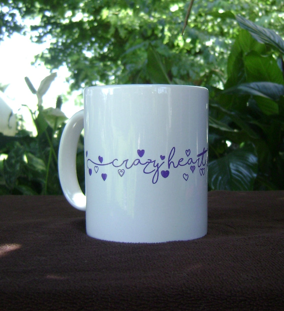 Crazy Heart Strings Bright White Ceramic Mug 11oz
