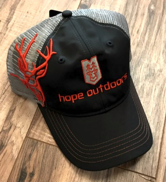 Charcoal / Blaze Orange Logo - Unstructured, Mesh Back Distressed