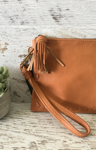 Rhede Satchel Clutch - Tan Leather