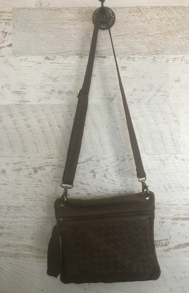 Eris Woven Satchel - Chocolate Leather