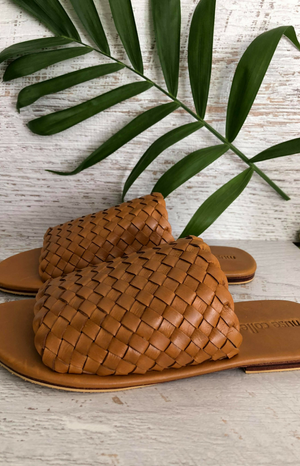 Leto Woven Leather Slide - Tan