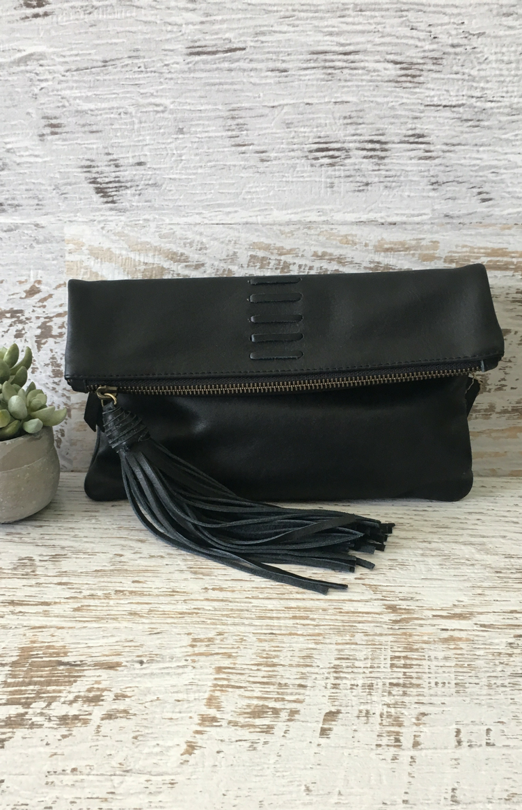 Zoe Fold Over Clutch - Black
