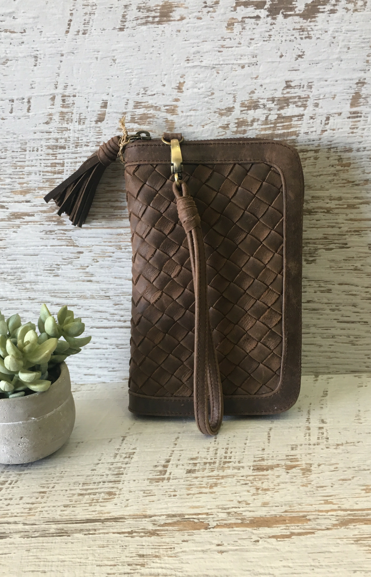 Metris Woven Wallet - Chocolate Leather