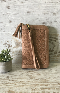 Metris Woven Wallet - Taupe Leather